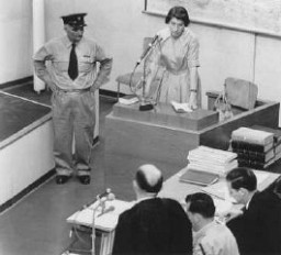 "<p>Witness Zivia Lubetkin Zuckerman testifies during the <a href=""/narrative/3359/en"">trial of Adolf Eichmann</a>. Jerusalem, Israel. May 3, 1961.</p>"