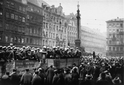 "<p>Troops supporting Hitler arrive in Munich during the <a href=""/narrative/11449"">Beer Hall Putsch</a> on November 9, 1923.</p>"