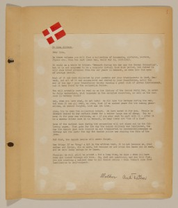 "<p>Dedication to a set of scrapbooks compiled by Bjorn Sibbern, a Danish policeman and resistance member, documenting the German occupation of <a href=""/narrative/4236"">Denmark</a>. Bjorn's wife Tove was also active in the Danish resistance. After World War II, Bjorn and Tove moved to Canada and later settled in California, where Bjorn compiled five scrapbooks dedicated to the Sibbern's daughter, Lisa. The books are fully annotated in English and contain photographs, documents and three-dimensional artifacts documenting all aspects of the German occupation of Denmark.</p>"