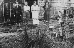 Femmes juives incarcérées, derrière la clôture de fil de fer barbelé dans le camp de détention de Gurs.