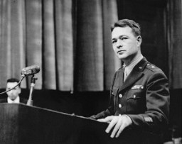 "<p>US Chief of Counsel Brigadier General Telford Taylor during the <a href=""/narrative/9245/en"">Doctors Trial</a>. Nuremberg, Germany, December 9, 1946-August 20, 1947.</p>"