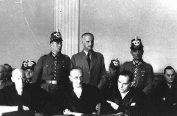 "<p>Carl Goerdeler, former mayor of Leipzig and a leader of the <a href=""/narrative/12002"">July 1944 conspiracy to kill Hitler</a>, stands trial before the People's Court in Berlin. He was condemned and executed at Ploetzensee prison on February 2, 1945. Berlin, Germany, 1944.</p>"
