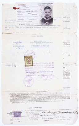Birth certificate, US immigration visa application, and identification card issued to Hans Ament, born in Vienna, Austria, in 1934.