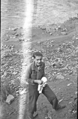 <p>Sami Dorra working at dam construction in the Im Fout labor camp. The camp was approximately 59 miles southwest of Casablanca, and housed a group of foreign workers. Im Fout, Morocco, 1942-42. </p>