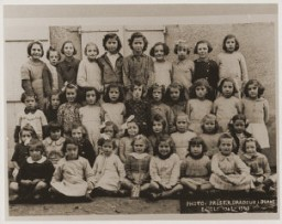 <p>A school class of girls in Oradour. All of the children pictured were killed by the SS during the June 10, 1944, massacre. Oradour-sur-Glane, France, photograph taken 1942–43.</p>