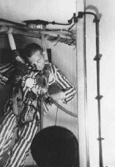 <p>Foto de um prisioneiro desfalecido em uma câmara de compressão, para determinar qual a altitude que a tripulação de um avião [nazista]poderia sobreviver sem oxigênio. No momento da foto ele havia perdido a consciência, vindo a falecer em seguida. Dachau, Alemanha, 1942.</p>
