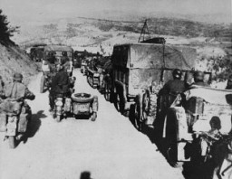 "<p>German troops during the <a href=""/narrative/6153/en"">invasion of Yugoslavia</a>, which began on April 6, 1941.</p>"