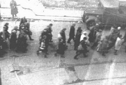 "<p>Deportation of Jews from the Warsaw ghetto during the <a href=""/narrative/3636"">uprising</a>. This photo was taken secretly from a building adjacent to the ghetto by a Polish member of the resistance. <a href=""/narrative/2014"">Warsaw</a>, Poland, April 1943.</p>"
