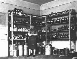 "<p>The <a href=""/narrative/5002"">American Jewish Joint Distribution Committee</a> pharmacy in the displaced persons camp at <a href=""/narrative/9359"">Bergen-Belsen</a>. Germany, August 14, 1947.</p>"