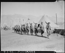 Army Military Police guard the Manzanar Relocation Center