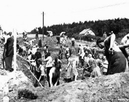 "<p>German civilians from the town of Nammering, under orders of American military authorities, dig graves for victims of a <a href=""/narrative/2931/en"">death march</a> from the Buchenwald concentration camp. Germany, May 1945.</p>"