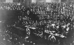 Nazi party leaders fill the Weimar Halle (the public hall in Weimar) after the 1932 presidential elections.