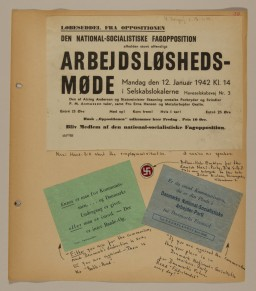 "<p>Page from volume 2 of a set of scrapbooks compiled by Bjorn Sibbern, a Danish policeman and resistance member, documenting the German occupation of <a href=""/narrative/4236"">Denmark</a>. Bjorn's wife Tove was also active in the Danish resistance. After World War II, Bjorn and Tove moved to Canada and later settled in California, where Bjorn compiled five scrapbooks dedicated to the Sibbern's daughter, Lisa. The books are fully annotated in English and contain photographs, documents and three-dimensional artifacts documenting all aspects of the German occupation of Denmark. This page contains handbills of the Danish Nazi party.</p>"
