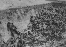 "<p>A mass grave at <a href=""/narrative/4549/en"">Bergen-Belsen</a> soon after the liberation of the camp. Bergen-Belsen, Germany, May 1945.</p>"