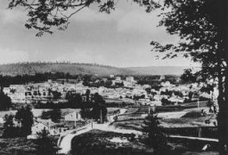 <p>View of Le Chambon, where most of the village's Protestant population hid Jews from the Nazis. Le Chambon-sur-Lignon, France, date uncertain.</p>