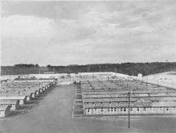 Exterior view of barracks at the Ravensbrueck concentration camp. [LCID: 15010]