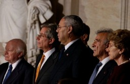 <p>Benjamin Meed (left) with Fred S. Zeidman, Colin L. Powell, Elie Wiesel, and Ruth B. Mandel at the 2003 Days of Remembrance ceremony in the US Capitol Rotunda.</p>