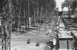 "<p>The fenced perimeter and an entrance to the women's camp at <a href=""/narrative/7988/en"">Wöbbelin</a>. Photograph taken May 4–6, 1945.</p>"