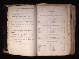 "<p>The family bible shown here belonged to Andre Trocme and contains annotations he made in preparation for his sermons. Trocme was a Protestant pastor in <a href=""/narrative/11043/en"">Le Chambon-sur-Lignon</a>, France. During the war, he and the town's residents helped shield Jews, especially Jewish children, and others from the Germans. The operation saved thousands of refugees, including about 5,000 Jews. His handwritten inscription in French reads, in part, ""Happy are those hungry and thirsty of justice; for they will be satisfied.""</p>"