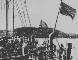 "<p>German ships at a Norwegian port. <a href=""/narrative/6313/en"">Norway</a>, May 3, 1940.</p>"