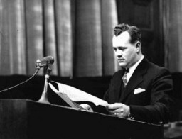 """<p>Alexander G. Hardy, associate counsel for the prosecution, during the <a href=""""/narrative/9245"""">Doctors Trial</a>. Nuremberg, Germany, December 9, 1946-August 20, 1947.</p>"""