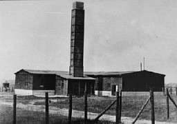 <p>A crematorium at the Majdanek camp, outside Lublin. The photograph was taken after the Soviet liberation of Lublin/Majdanek in July 1944. Poland, date of photograph uncertain.</p>