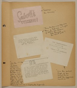 """<p>Page from volume 5 of a set of scrapbooks compiled by Bjorn Sibbern, a Danish policeman and resistance member, documenting the German occupation of <a href=""""/narrative/4236/en"""">Denmark</a>. Bjorn's wife Tove was also active in the Danish resistance. After World War II, Bjorn and Tove moved to Canada and later settled in California, where Bjorn compiled five scrapbooks dedicated to the Sibbern's daughter, Lisa. The books are fully annotated in English and contain photographs, documents and three-dimensional artifacts documenting all aspects of the German occupation of Denmark. This page conatins anti-Nazi leaflets</p>"""