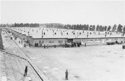 "<p>View of prisoners' barracks soon after the liberation of the <a href=""/narrative/4391"">Dachau</a> concentration camp. Dachau, Germany, May 3, 1945.</p>"