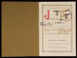 "<p>German police authorities issued this passport to Erna ""Sara"" Schlesinger on July 8, 1939, in Berlin. This first page of the passport illustrates the German laws that facilitated the identification of Jews in Germany. From 1938, German regulations required that Jewish women with a first name of ""non-Jewish"" origin use the middle name ""Sara"" on all official documents. Jewish men had to add the name ""Israel"". The letter ""J"" (standing for ""Jude,"" that is, the word ""Jew"" in German) was stamped in red on the passports of Jews who were also German nationals. Erna Schlesinger emigrated to the United States in 1939.</p>"