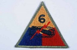 "<p>Insignia of the <a href=""/narrative/7812/en"">6th Armored Division</a>. ""Super Sixth"" became the nickname of the 6th Armored Division while the division was training in the United States, apparently to symbolize the division's spirit.</p>"