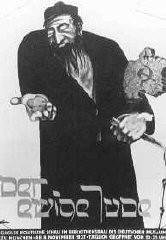 """<p>A """"Der ewige Jude"""" (Az örök zsidó) című antiszemita múzeumi kiállítás plakátja, amely marxistaként, uzsorásként és rabszolgatartóként ábrázolja a zsidókat. München, Németország, 1937. november 8.</p>"""
