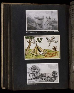 "<p>(Middle) In a take-off of travel posters advertising peaceful vacation spots, Beifeld draws a picture of a Hungarian military tent pitched next to a tree on which a bird is cheerfully chirping. Next to the tent the artist writes ""Peaceful Surroundings"" but above, a Soviet bomber releases a bomb aimed at the tent. [Photograph #58022]</p>"