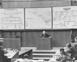 "<p>Walter Gumpert testifies for the prosecution during the <a href=""/narrative/9558"">Krupp Trial</a>. Gumpert worked as a machinist at a Krupp factory. December 16, 1947.</p>"