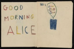 """To Alice from Ervin Bogner,"" handmade comic book, approximately 1945-1957"