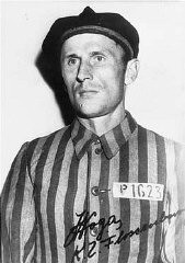 "<p>Photograph of <a href=""/narrative/6763"">Julian Noga</a>, a <a href=""/narrative/6590"">Polish prisoner</a> (marked with an identifying patch bearing a ""P"" for Pole) imprisoned in the Flossenbürg concentration camp. Germany, between August 1942 and April 1945.</p>"