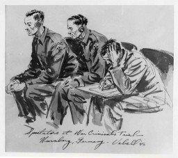 """<p>Courtroom sketch drawn during the International Military Tribunal by American artist Edward Vebell. The drawing's title is """"Spectators at War Criminals Trial, Nuremberg, Germany."""" 1945.</p>"""