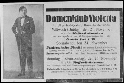 Advertisement for the Violetta women's club