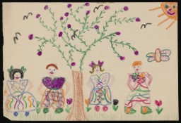 Drawing of people in a garden by Hanka