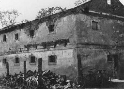 "<p>Site at which the SS shot and burned the last 45 of 48 prisoners at <a href=""/narrative/3852"">Chelmno</a>. The other three prisoners escaped. Chelmno, Poland, 1945.</p>"