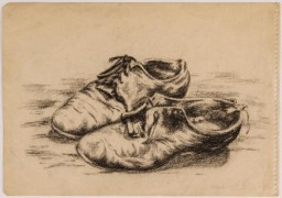 <p>Jewish teenager Ava Hegedish drew this poignant picture of her mother's well-worn shoes while in hiding. </p>