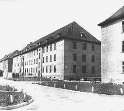 "<p>Barracks in the Ebelsberg camp for Jewish <a href=""/narrative/6365"">displaced persons</a>. Ebelsberg, Austria, July 1947.</p>"