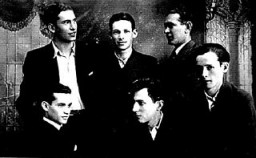 Group portrait of six young men in interwar Poland.