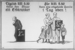 <p>Propaganda slide produced by the Reich Propaganda Office showing the opportunity cost of feeding a person with a hereditary disease. The illustration shows that an entire family of healthy Germans can live for one day on the same 5.50 Reichsmarks it costs to support one ill person for the same amount of time. Dated 1936.  </p>