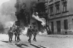 "<p>German soldiers burn residential buildings to the ground, one by one, during the <a href=""/narrative/3636/en"">Warsaw ghetto uprising</a>. Poland, April 19-May 16, 1943.</p>"