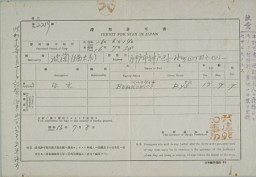 """<p>Japanese authorities issued this """"Permit for stay in Japan"""" to Ruth Segal (Rys Berkowicz). After several unsuccessful attempts to obtain visas for the United States, Ruth's father was able to secure a visa for her to go to New Zealand, in the British Commonwealth of Nations. [From the USHMM special exhibition Flight and Rescue.]</p>"""