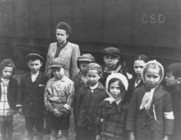 <p>Polish Jewish orphans, under the temporary care of the United Nations Relief and Rehabilitation Administration (UNRRA), en route to France and Belgium. Prague, Czechoslovakia, 1946.</p>