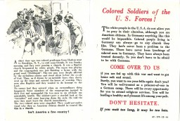 <p>German propaganda leaflet targeting African American servicemen, November 1944. The leaflets falsely suggested that African Americans would receive better treatment by the German military and encouraged them to surrender to German troops.</p>