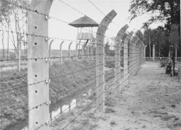View of the barbed wire fence and a watch tower at Vught after the liberation of the camp.