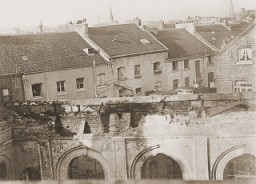 "<p>View of the old synagogue in Aachen after its destruction on <a href=""/narrative/4063/en"">Kristallnacht</a>. Aachen, Germany, photo taken ca. November 10, 1938.</p>"