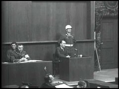<p>Albert Speer gives testimony at the International Military Tribunal. In 1942 Speer was named Minister of Armaments and Munitions, assuming significant responsibility for the German war economy. In this position, Speer used millions of forced laborers to raise economic production.</p>
